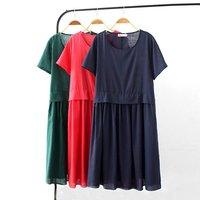 2017 High Qualit Summer Dark Blue Red Green Loose Dress 3XL Solid Color O Neck Short