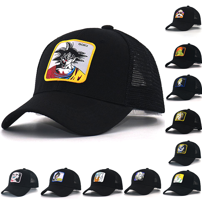 New Dragon Ball Snapback   Cap   Cotton adjustable cartoon embroidery bone   Baseball     Cap   Hip Hop Trucker Mesh Hat summer
