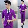 9 colors free shipping men summer half sleeve suits 3-piece set suit Korean hair stylist nightclub slim terno small suit set