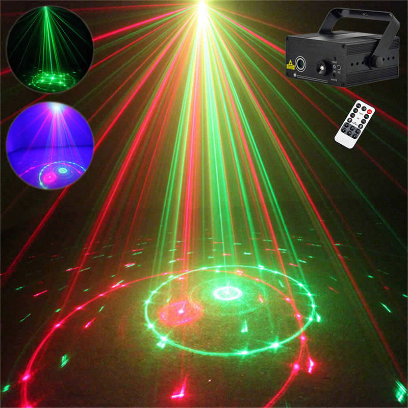 AUCD Mini Remote 20 Patterns Red Green Laser Effect Projector 3W Blue LED Light Home DJ Holiday Wedding Stage Lighting  L20 aucd mini remote 24 patterns rg red green laser effect projector 3w blue led light dj home party wedding stage lighting z24rg