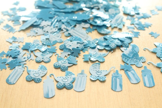 Us 7 9 Boy Baby Shower 1st Birthday Party Celebration Decoration Kits Sprinkles Baby Blue Carriage Milk Bottle Foil Metallic Confetti In Figurines