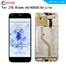 Lcd ekran ekran Için ZTE Blade A6/A6 Lite/A0620 lcd ekran + dokunmatik ekran digitizer çerçeve Meclisi ile Panel Cam ZTE A6