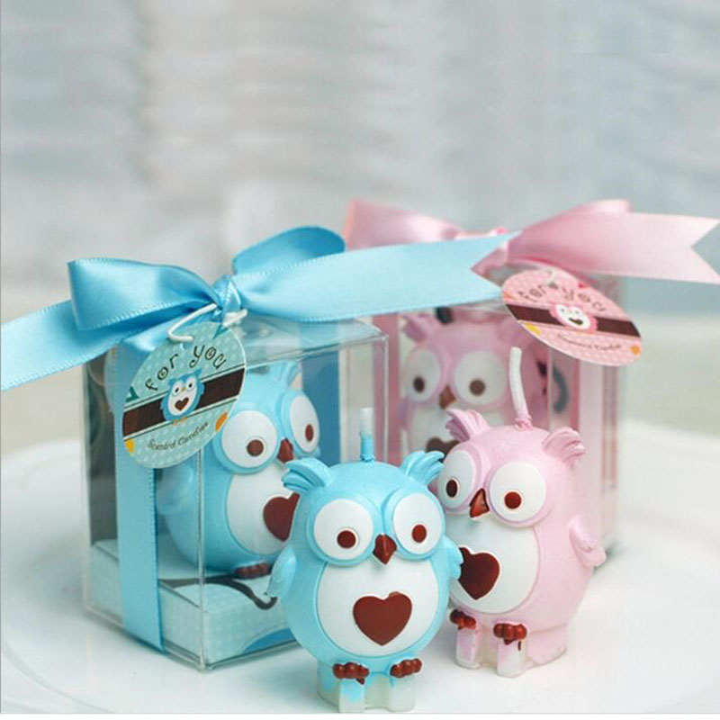 Baby Showers Gifts For Guests: 100pcs/lot Idea Owl Candle Smokeless Gifts Baby Shower