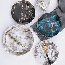 Европейский Стиль мраморные плиты керамический набор посуды Золотая инкрустация фарфоровая десертная тарелка Стейк Салат закуски, торт тарелки, посуда
