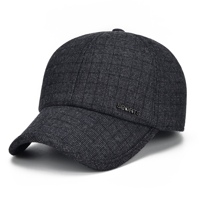 UNIKEVOW New arrivel Winter patchwork sports baseball caps with ears golf hat Casual winter hat warm caps for men