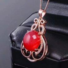 LANZYO 100% 925 Sterling Silver Pendants Natural Green Chalcedony Fine Jewelry 925 Sterling Silver Jewelry wholesale j121401agys