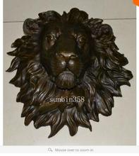collecting OLD copper Elaborate Old Handwork Exquisite huge Lion head flat sculpture statue art hanging wall H18.1