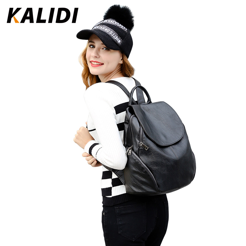 KALIDI Brand Leather Backpacks Women Fashion Mini Small Backpack Black Soft Solid Girls School Shoulder Bags Mochila Feminina