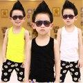 Caliente venta 2015 niños del verano chaleco colores del caramelo de algodón las tapas de las muchachas sin mangas t-shirt ropa para niños para 2-7 Y