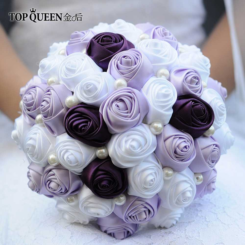 Topqueen F7 Wedding Bouquet Purple And Lavender Rose White Rose Flower Pearl Bouquet Artificial Bridal Bouquet For Wedding Party Wedding Bouquet Purple Pearl Bridal Bouquetbouquets Purple Aliexpress