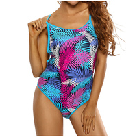 Adogirl Blue Pink Palm Leaves Strappy Back One Piece Swimsuit Brazilian Swimwear For Women 2017 Summer