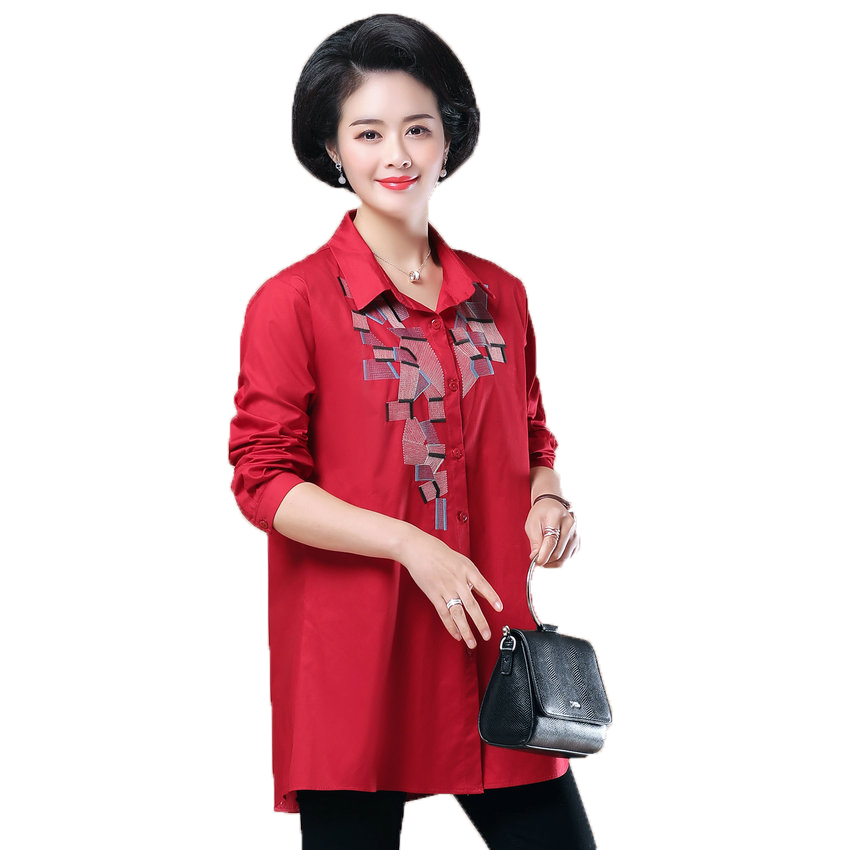 WAEOLSA Woman Casual Loose Shirt Blue Red Cotton Top Women Print Oversized Blouses Plus Size Top Lady Leisure Shirt Spring 2019 in Blouses amp Shirts from Women 39 s Clothing