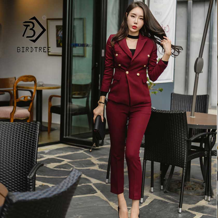 New Wine Red Slim Style Women's Pant Suits Waist Buttons Blazer Jacket Pencil Pant OL Female 2 Pieces Set Spring 2019 S95521Z