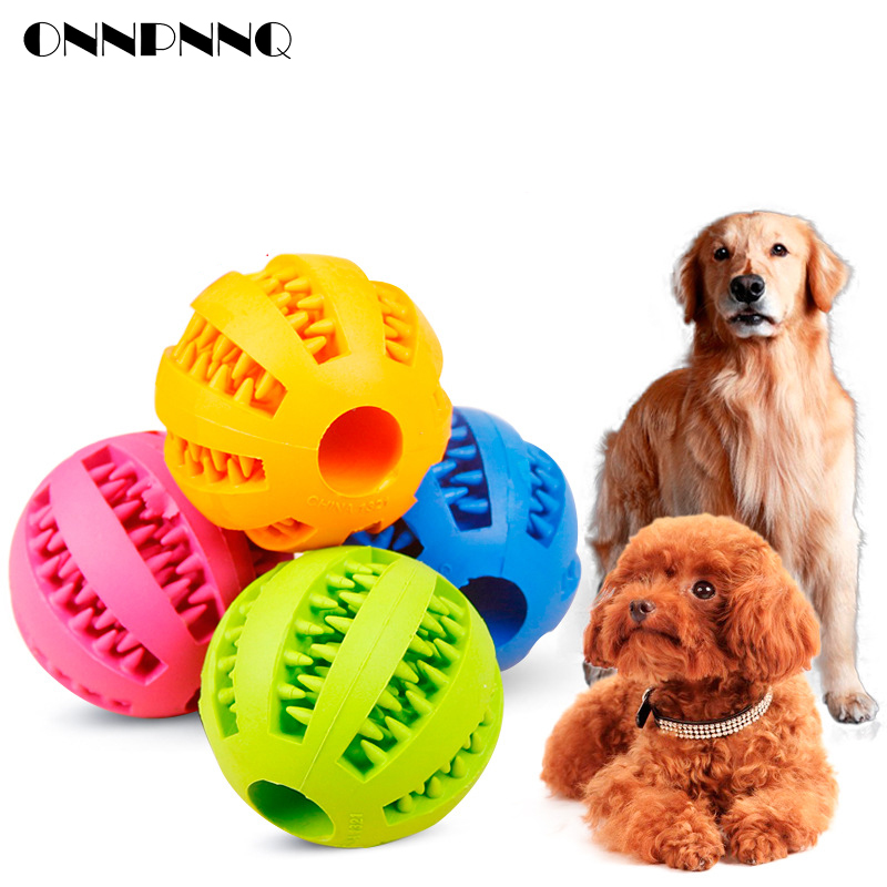OnnPnnQ Rubber Pet Dog Cat Toy Ball Chew Treat Holder Tooth Cleaning Ball Food Dog Puppy Ball Training Interactive Pet Supplies1