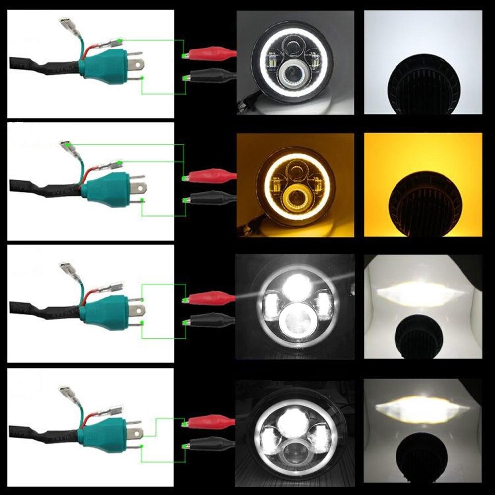 CO LIGHT 7 Tums Led-strålkastare H4 DRL Runda 7 '' Strålkastare med - Bilbelysning - Foto 5