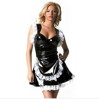 Fetish Punk Gothic Leather French Maid Cosplay Costume Sexy 100 PVC Lace Dress Halloween Latex Catsuit