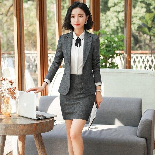 Elegante gris uniforme Formal diseños profesionales trajes chaquetas y  abrigos con falda para mujeres Oficina ropa cbb3f7876991