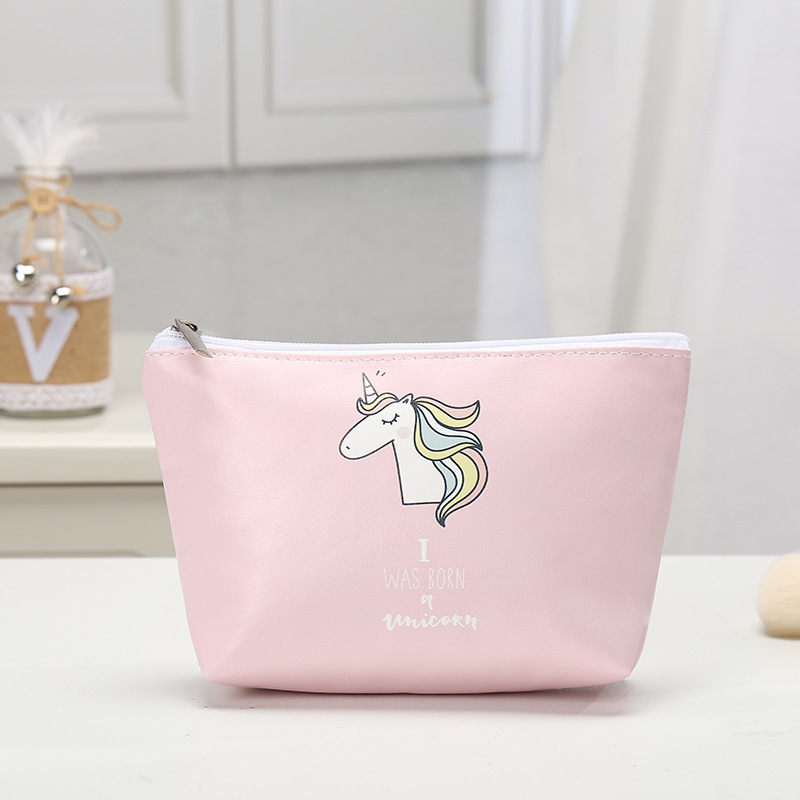 Cosmetic Bags Unicorn Printed Necessaries for Women Makeup Heart Pu leather Travelling Organizer trousse maquillage femme