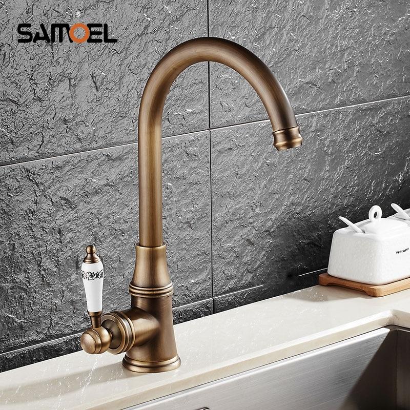 Nouveau style laiton antique finition robinet cuisine évier bassin robinets mélangeur avec céramique chaude et froide AF1091