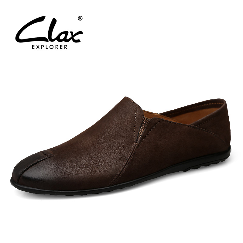 CLAX Men s Loafers Genuine Leather 2018 Spring Summer Fashion Casual Shoes Slip on Male Flat
