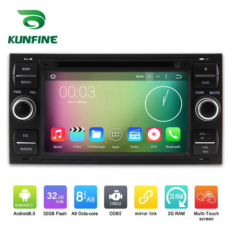 Octa Core 1024*600 Android 6.0 Car DVD GPS Navigation Multimedia Player Car Stereo for Ford focus 1999-2008 Black Radio WIFI