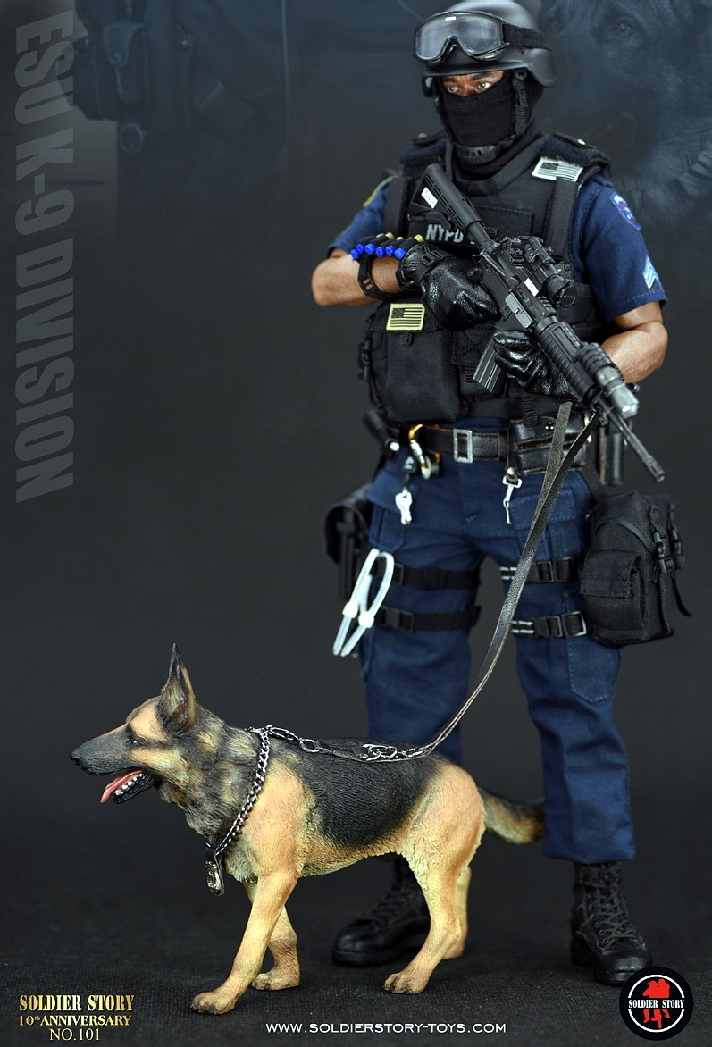 Strict Collection 1/6 Full Set Male Soldier Emergency Service Unit Ss101 Nypd Esu K-9 Division Police K9 Unit Action Figure With Dog Jade White Toys & Hobbies