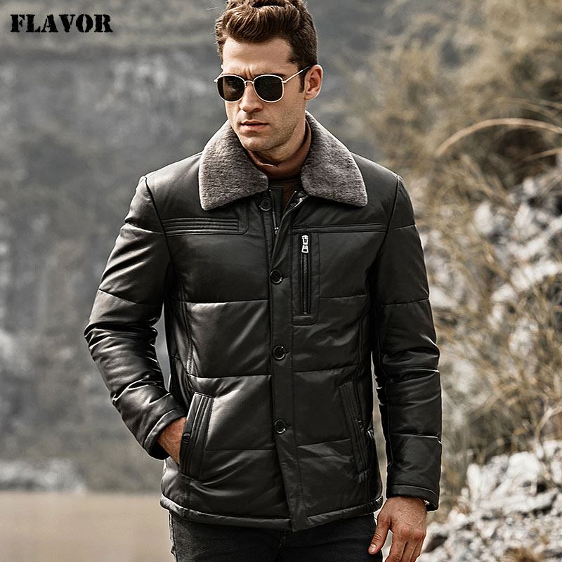 Image 3 - FLAVOR Men's Duck Down Leather Jacket Men Lambskin Genuine Leather Jacket Winter Warm Down Coat with Removable Sheep Fur Collar-in Genuine Leather Coats from Men's Clothing