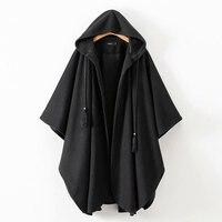 New Women Winter Black Long Coat Ladies Cotton Fashion Cardigan Jackets Women s Harjuku Hooded Cloak Capes ponchos y capas mujer