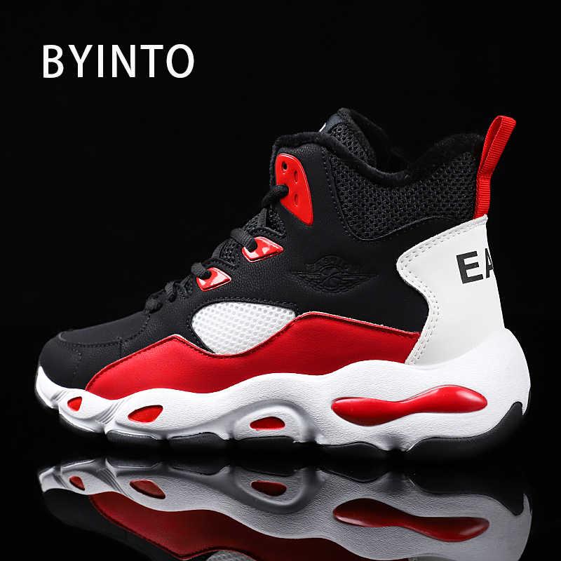 c7c713e25e55 2018 зимние плюшевые теплые замшевые мужские кроссовки с высоким берцем  Нескользящие черные белые красные мужские кроссовки