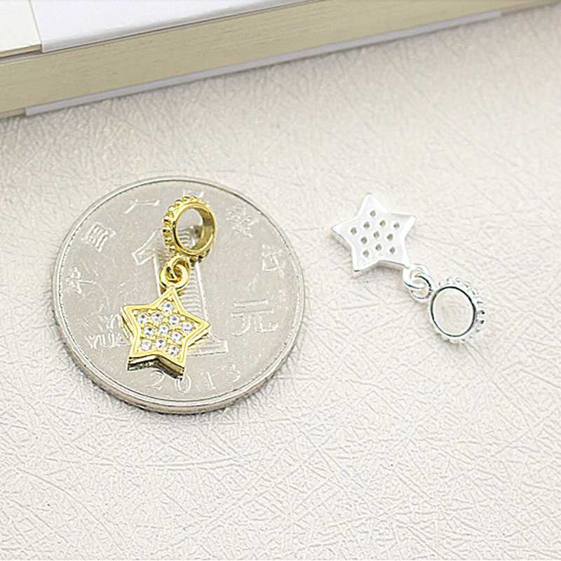 1PCS 925 Sterling Silver Rhinestones Star Charms For Jewelry Making Silver/Golden Pendant For Choker Necklace Bracelet DIY Craft
