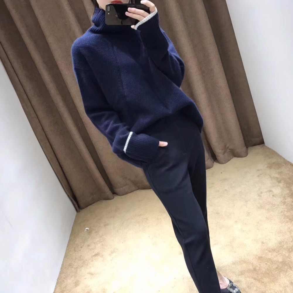 Suéter de mujer 2019 invierno nuevo doble engrosamiento suéter de cachemira de cuello alto suelto Jersey de punto casual de manga larga para mujer
