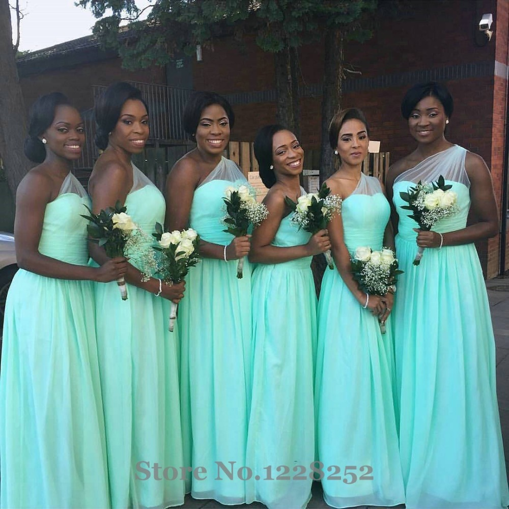 Newest Mint Green Bridesmaid Dress One Shoulder Sheer Chiffon ...