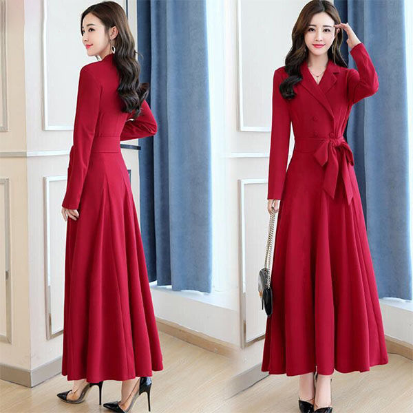 Black Girl Fashion 2019: Office Lady Long Dress 2019 New Korean Fashion Women Turn