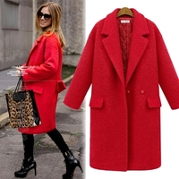 2018 Fashion women wool trench autumn winter warm coat plus size red,black woolen overcoat long trench coat slim thick outwear