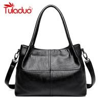 Tuladuo Luxury Handbags Women Bags Designer Leather Female Stitching Handbags Big Women Shoulder Bag Top Handle
