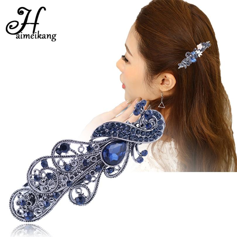 Haimeikang Princess Flower Hairpins Fashion Blue Crystal Peacock Barrette Hair Clip Women Headwear Hair Accessories