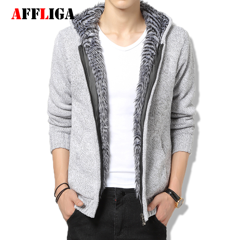 Hooded Sweater Men Coarse Wool Knitted Cardigan Mens Velvet Thicken Christmas Sweater Cardigans for Men Casual