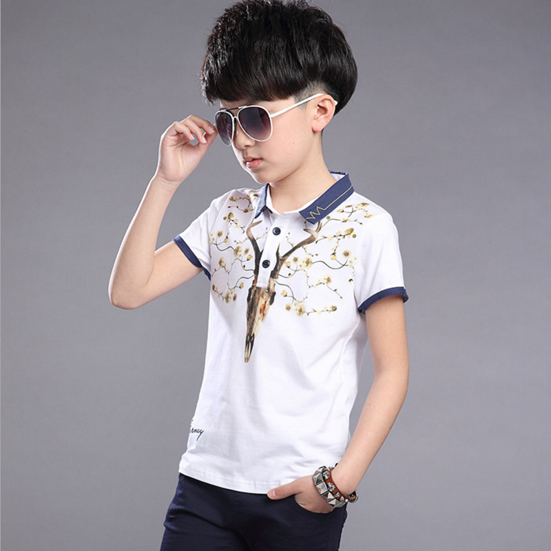 Boys Summer Short Sleeve Clothing Set 2017 New Fashion Turn-collar 100% Cotton Animal Printed Suits For Children 120-170 fashion handpainted palm sea sailing pattern hot summer jazz hat for boys