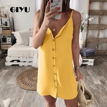 GIYU Summer Women Short Dress with Buttons Mini Strap Dresses Solid Vestido Sexy Sleeveless Backless Tie Up robe femme