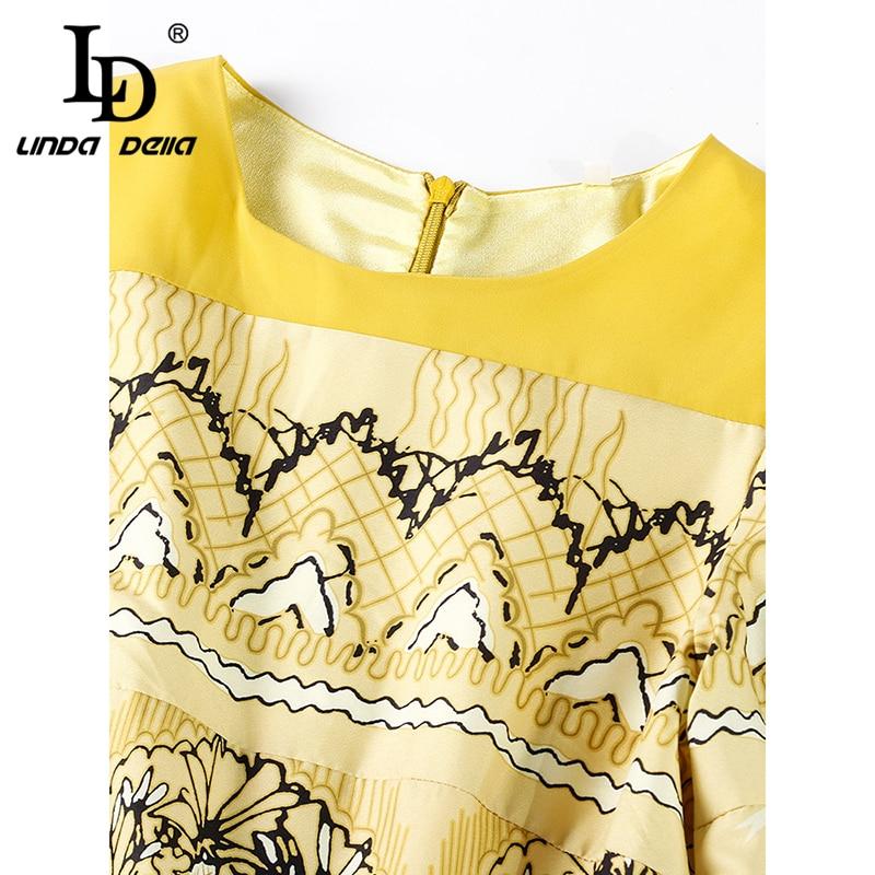 LD ليندا ديلا جديد الخريف أزياء المدرج اللباس المرأة طويلة الأكمام عارضة المطبوعة عطلة اللباس vestidos-في فساتين من ملابس نسائية على  مجموعة 2