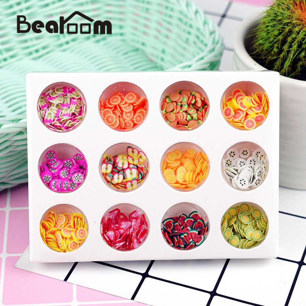 Bearoom 12 Type/set Slime Fruit Slice DIY Toys Polymer Clay Decorations Funny Toy For Children Lightweight Crystal Mud Kit colorful diy creative funny egg crystal mud toy for reducing stress
