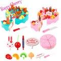 Счастливые Вишня Дети Притворись Play Plastic Kitchen Toys Preschool Пищевые Столовые Приборы Торт Ко Дню Рождения Игрушки Набор для Детей Кухня Жуэ