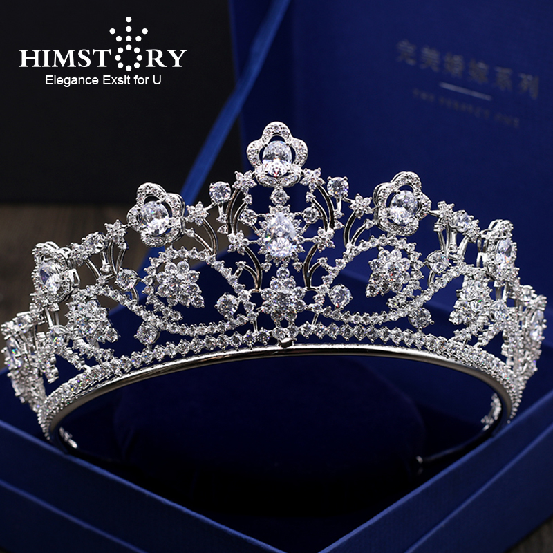 Himstory Blingbling Big Paved CZ Crown Cubic Zircon Wedding Bride Hair Accessories Shemale Performance Hair Jewelry 03 red gold bride wedding hair tiaras ancient chinese empress hat bride hair piece