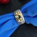 Joyería anillo de plata Classic CoLife con estampado 925 genuino citrino anillo para mujer joyas de cristal anillo de la nueva manera