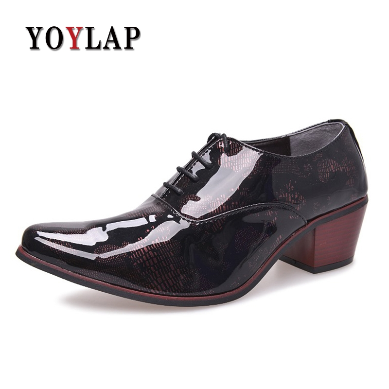 Yoylap Mens party shoes gents man 6cm high heeled leather wedding shoes 2.3 inch heighten heel dress shoes Buty Meskie Calcados