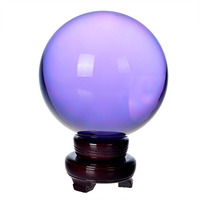 200mm Lilac Crystal Ball Feng shui Magic Glass Ball with wooden base Sphere Figurines Miniatures Ornaments For Gifts Home Decor