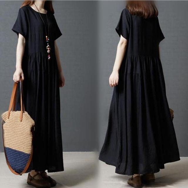 75160d730584 Casual Solid Pleated Short Sleeves Dress Cotton Linen Loose Pure O-neck  Long Dress Large Size XXL Vintage Woman Long Dress Black