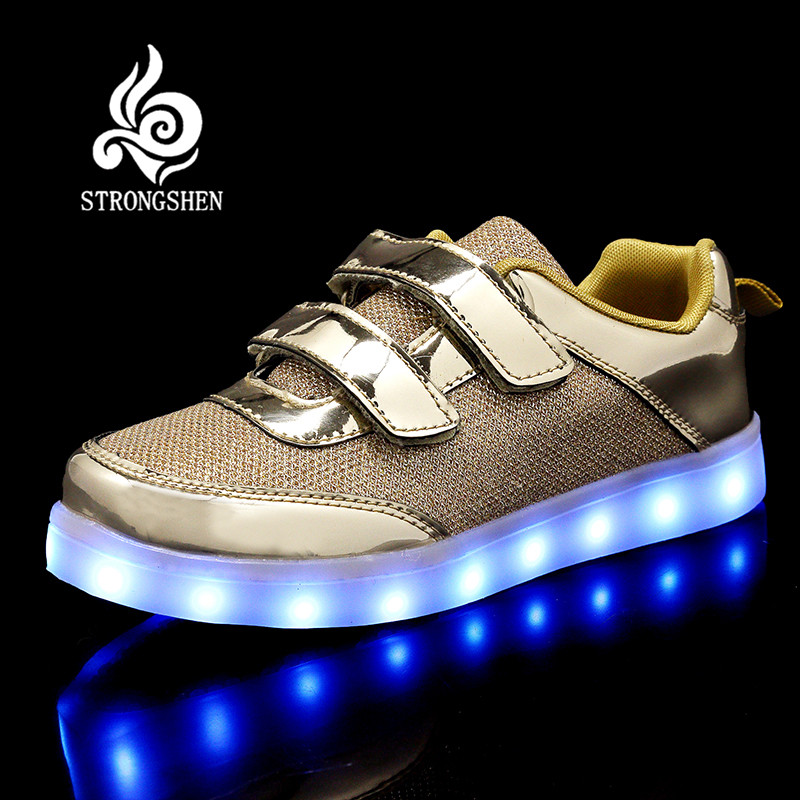 STRONGSHEN New 25-37 Size USB Led child Shoes With Light Up Kids Luminous Sneakers Children's Glowing Shoe enfant for Boys