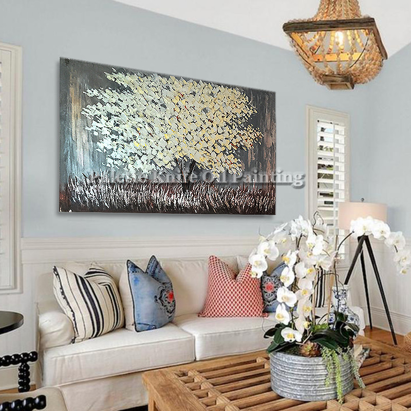 Painting of Modern Hand Painted palette knife 3D texture Flower Tree - Home Decor - Photo 5