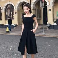 Дамы Платье черного цвета элегантный 2018 Лето корейский стиль Винтаж Slash шеи Разделение плиссе с плеча миди платье Vestito donna D423